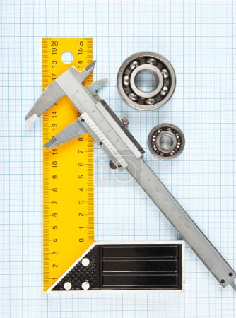 Setsquare and calliper with bearing