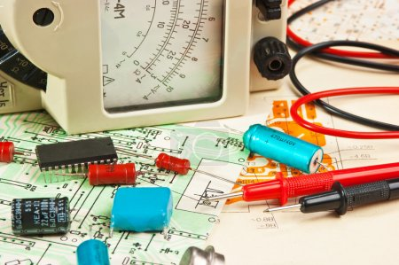 Photo for Electric meter and electronic components on circuit - Royalty Free Image