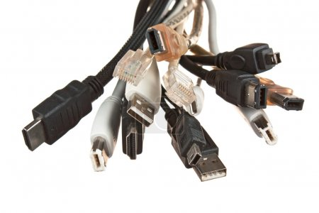 Bunch of computer cables with sockets