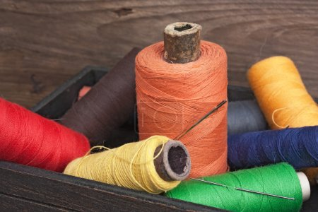 Still life of spools of thread