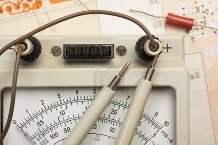 Photo for Old analog multimeter and electronic component - Royalty Free Image