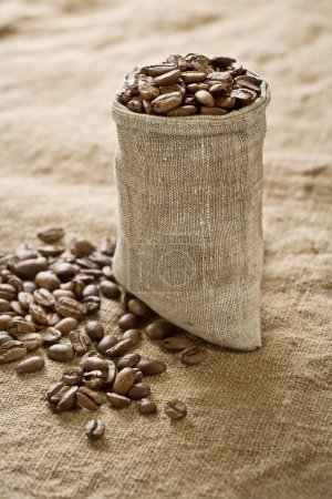 Coffee grains in bag on sacking