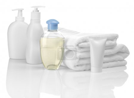 Photo for Bottles towels and tube - Royalty Free Image