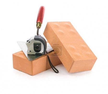 Bricks trowel and tapeline