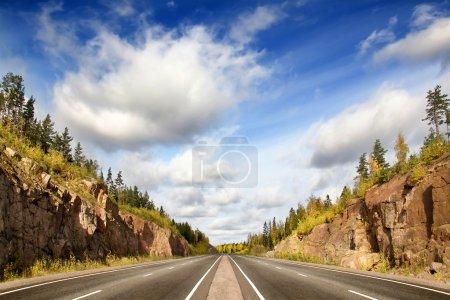 Highway in rocky country, Scandinavia