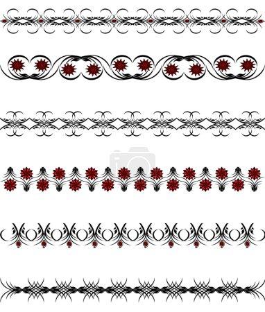 Photo pour Illustration vectorielle d'un ensemble de bordures florales - image libre de droit