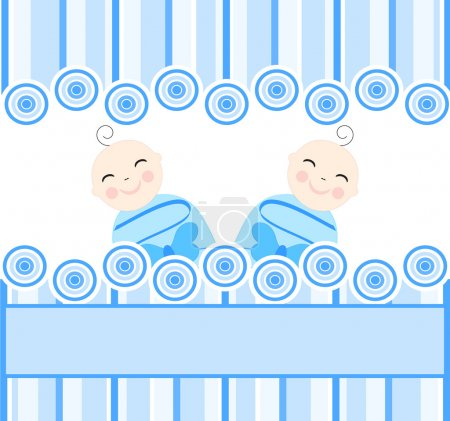Illustration for Vector illustration of the twins boys on blue striped background - Royalty Free Image