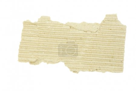 Photo for Piece of brown corrugated cardboard on white - Royalty Free Image