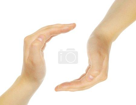 Photo pour Mains faites cercle sur fond blanc - image libre de droit
