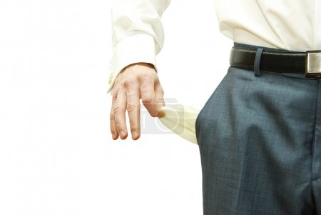Photo for Businessman with empty pockets on white - Royalty Free Image