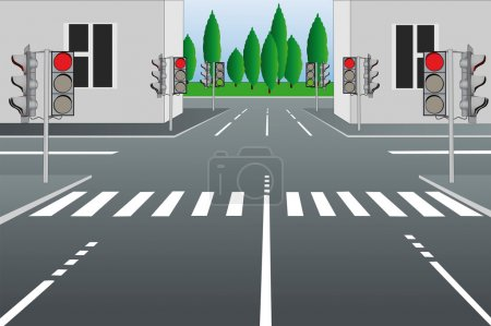 Illustration for Vector illustration of empty city street - Royalty Free Image