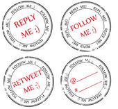 Set of stamps to Twitter: follow reply retweet