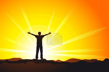 Illustration pour Homme debout au sommet de la colline avec les mains levées - image libre de droit