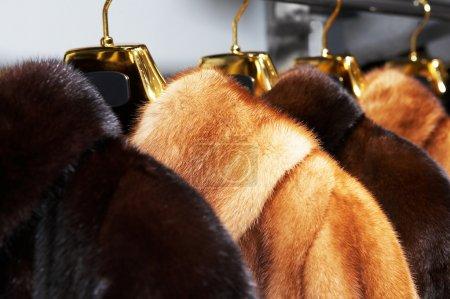 Photo pour Manteaux de fourrure femme riche en vente dans la boutique - image libre de droit