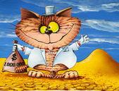 štěstí kočka s pytlem peněz