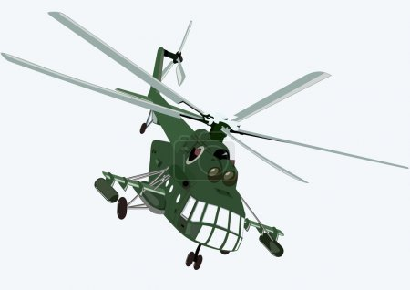 Illustration for Military aircraft. Military helicopter on a blue background. - Royalty Free Image