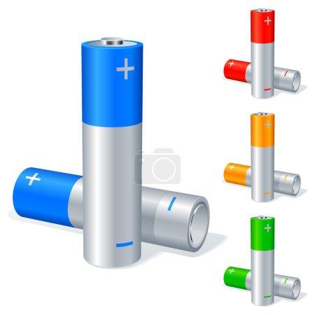 Illustration pour Quatre groupes de piles de couleur . - image libre de droit