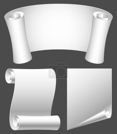 Illustration for Set of white paper scrolls. - Royalty Free Image
