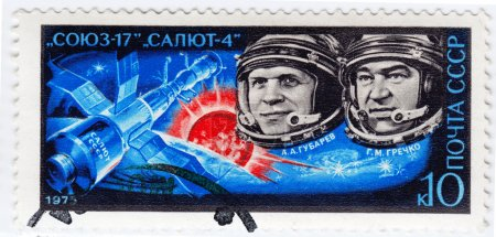 Russian astronauts Gubarev and Grechko