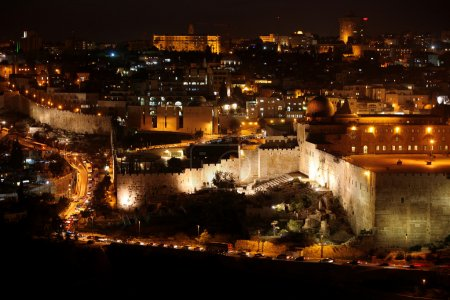 Classic Jerusalem - Night in old city, Temple Mount with Al-Aqsa