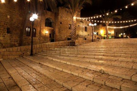 Old street of Jaffa city, Tel Aviv in the night, Israel