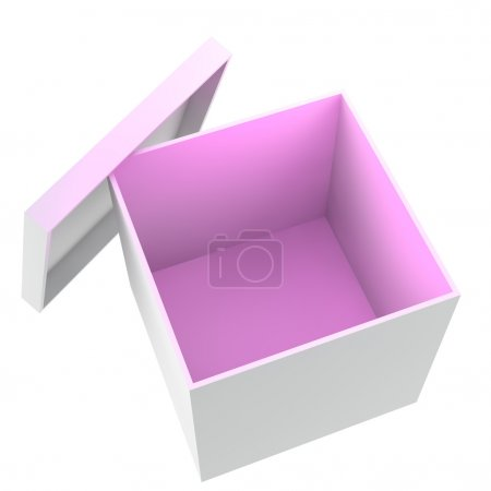 3D illustration of white opened empty box with pin...