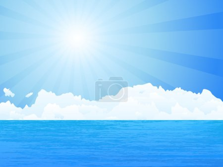 Illustration for Ocean, sun and sky. Vector illustration. - Royalty Free Image