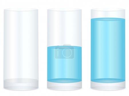 Illustration pour Verre vide, moitié et plein d'eau sur fond blanc. Illustration vectorielle . - image libre de droit