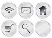 Metal web circle icon set Vector illustration