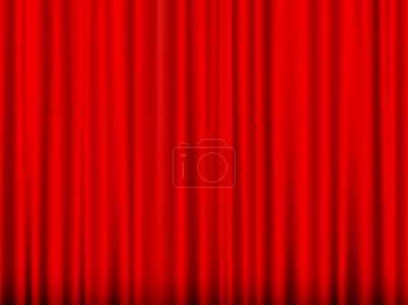 Illustration for Close view of a red curtain. Vector illustration. - Royalty Free Image