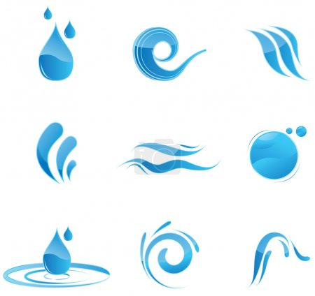 Illustration for Glossy blue water symbols - Royalty Free Image