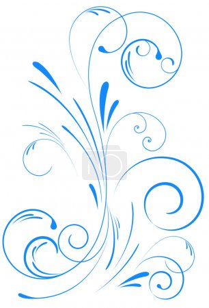 Illustration for Blue floral swirl ornament - Royalty Free Image