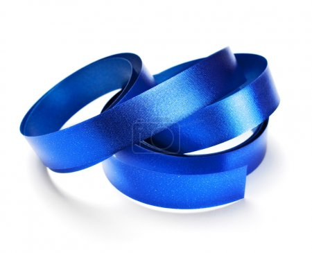 Photo pour Ruban bleu isolé sur blanc - image libre de droit
