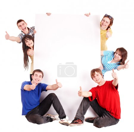 Photo for Group with thums up and banner.Isolated. - Royalty Free Image