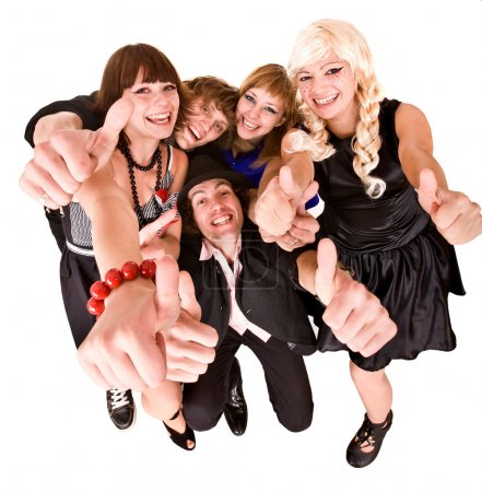Photo for Group of in costume with thumb up. Isolated. - Royalty Free Image