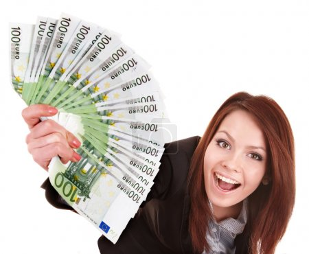 Young woman holding euro money.