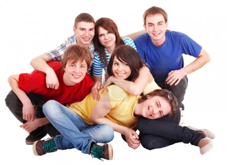 Group of happy young
