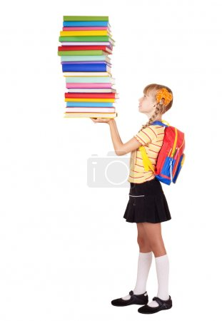 Schoolgirl with backpack holding stack of books.
