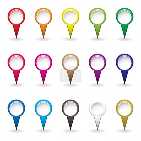 Photo for Collection of Map pins with rainbow colors and drop shadow - Royalty Free Image