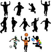 Silhouettes of children in movement