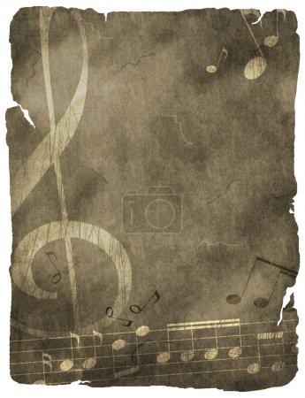 Photo pour Fond musical. sur vieux papier ou parchemin - image libre de droit