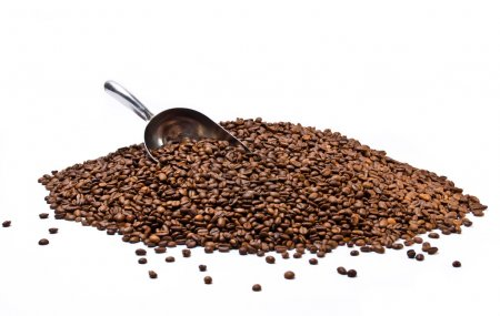 Photo for Metal scoop partially burried in coffee beans heap isolated on white background - Royalty Free Image