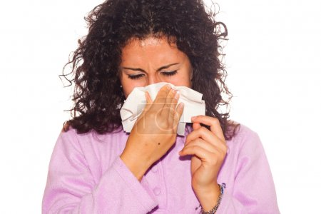 Young Sick Woman Blow Her Nose
