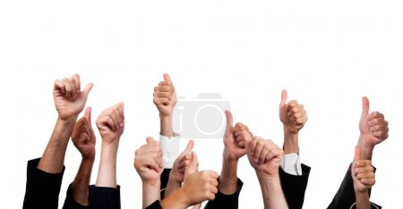 Business with Thumbs Up on White Background