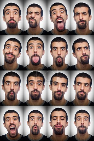 Photo for Youg Man Collection of Expressions on White Background - Royalty Free Image