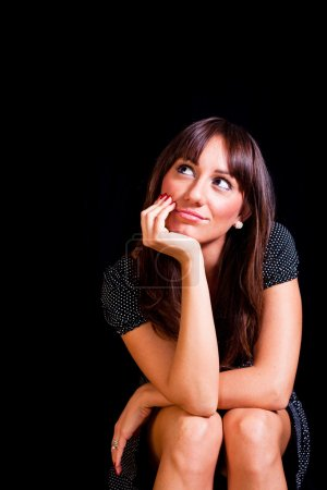 Beautiful Pensive Woman with Copy Space