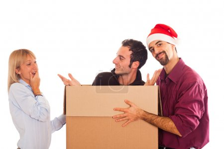 Delivery Boy with Christmas Hat, Present for Woman