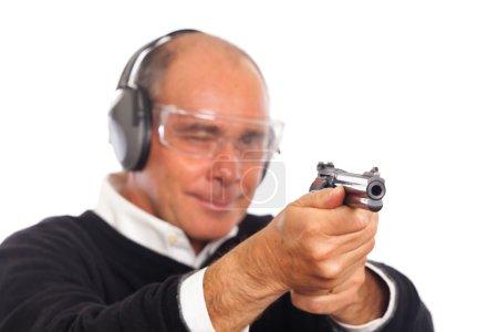 Man Pointing a Gun on White Background