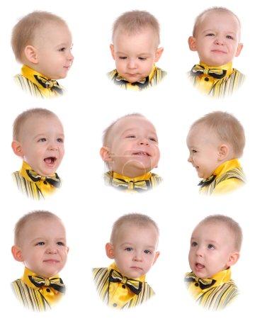 Foto de Las emociones del niño. Aislado sobre fondo blanco - Imagen libre de derechos