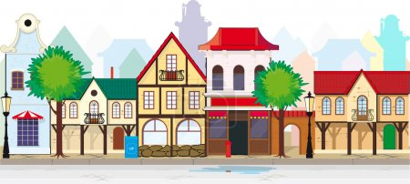 Illustration for Elegant old, antique street of a small town. You can, if desired, add length - Royalty Free Image